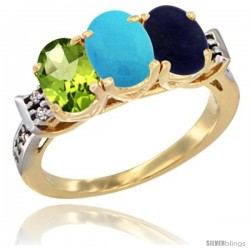10K Yellow Gold Natural Peridot, Turquoise & Lapis Ring 3-Stone Oval 7x5 mm Diamond Accent