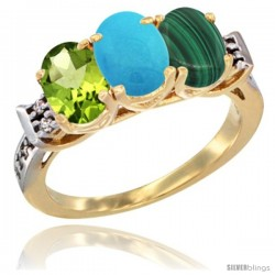 10K Yellow Gold Natural Peridot, Turquoise & Malachite Ring 3-Stone Oval 7x5 mm Diamond Accent