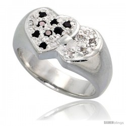 Sterling Silver Interlacing Hearts Ring, High Quality Black & White CZ Stones, 3/8 in (10 mm) wide
