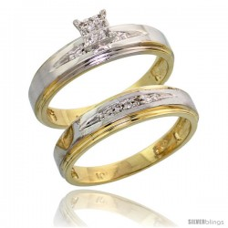 10k Yellow Gold Diamond Engagement Rings Set 2-Piece 0.08 cttw Brilliant Cut, 3/16 in wide -Style Ljy013e2
