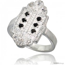 Sterling Silver Marquise-shaped Ring, High Quality Black & White CZ Stones, 3/4 in (19 mm) wide