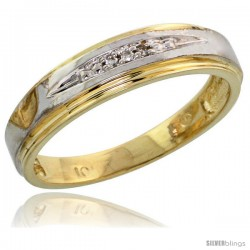 10k Yellow Gold Ladies Diamond Wedding Band Ring 0.02 cttw Brilliant Cut, 3/16 in wide -Style Ljy013lb