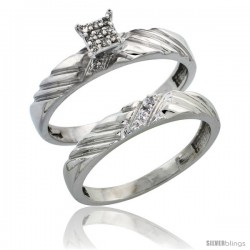 Sterling Silver Ladies 2-Piece Diamond Engagement Wedding Ring Set Rhodium finish, 1/8 in wide