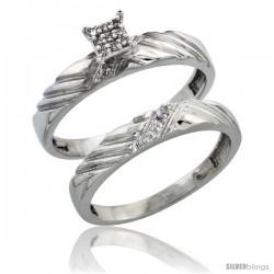 Sterling Silver Ladies 2-Piece Diamond Engagement Wedding Ring Set Rhodium finish, 1/8 in wide
