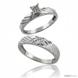 Sterling Silver 2-Piece Diamond wedding Engagement Ring Set for Him & Her Rhodium finish, 3.5mm & 5mm wide -Style Ag018em