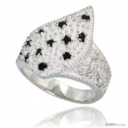 Sterling Silver Freeform Ring, High Quality Black & White CZ Stones, 3/4 in (18 mm) wide -Style Rcz571