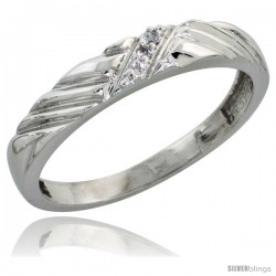 Sterling Silver Ladies Diamond Wedding Band Rhodium finish, 1/8 in wide -Style Ag018lb