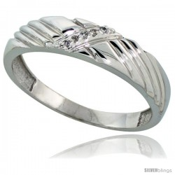 Sterling Silver Men's Diamond Wedding Band Rhodium finish, 3/16 in wide -Style Ag018mb