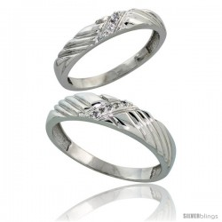 Sterling Silver Diamond 2 Piece Wedding Ring Set His 5mm & Hers 3.5mm Rhodium finish -Style Ag018w2