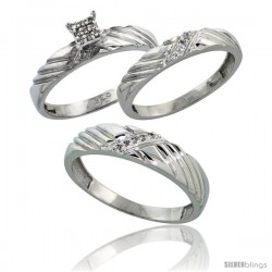 Sterling Silver Diamond Trio Wedding Ring Set His 5mm & Hers 3.5mm Rhodium finish -Style Ag018w3