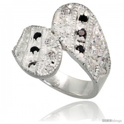 Sterling Silver Ring High Quality Black & White CZ Stones, 3/4 in (18 mm) wide