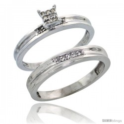 Sterling Silver Ladies' 2-Piece Diamond Engagement Wedding Ring Set Rhodium finish, 1/8 in wide -Style Ag019e2