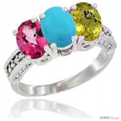 14K White Gold Natural Pink Topaz, Turquoise & Lemon Quartz Ring 3-Stone 7x5 mm Oval Diamond Accent