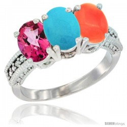 14K White Gold Natural Pink Topaz, Turquoise & Coral Ring 3-Stone 7x5 mm Oval Diamond Accent