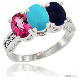 14K White Gold Natural Pink Topaz, Turquoise & Lapis Ring 3-Stone 7x5 mm Oval Diamond Accent