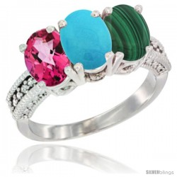 14K White Gold Natural Pink Topaz, Turquoise & Malachite Ring 3-Stone 7x5 mm Oval Diamond Accent
