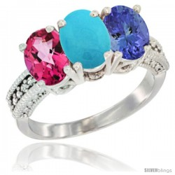 14K White Gold Natural Pink Topaz, Turquoise & Tanzanite Ring 3-Stone 7x5 mm Oval Diamond Accent