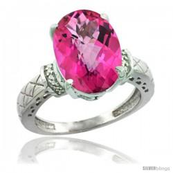 14k White Gold Diamond Pink Topaz Ring 5.5 ct Oval 14x10 Stone