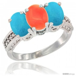 14K White Gold Natural Coral & Turquoise Sides Ring 3-Stone 7x5 mm Oval Diamond Accent