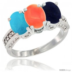 14K White Gold Natural Turquoise, Coral & Lapis Ring 3-Stone 7x5 mm Oval Diamond Accent