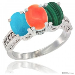 14K White Gold Natural Turquoise, Coral & Malachite Ring 3-Stone 7x5 mm Oval Diamond Accent
