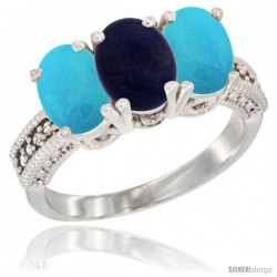 14K White Gold Natural Lapis & Turquoise Sides Ring 3-Stone 7x5 mm Oval Diamond Accent