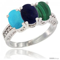 14K White Gold Natural Turquoise, Lapis & Malachite Ring 3-Stone 7x5 mm Oval Diamond Accent