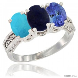14K White Gold Natural Turquoise, Lapis & Tanzanite Ring 3-Stone 7x5 mm Oval Diamond Accent