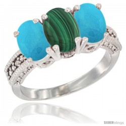 14K White Gold Natural Malachite & Turquoise Sides Ring 3-Stone 7x5 mm Oval Diamond Accent