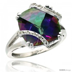 10k White Gold Diamond Mystic Topaz Ring 7.5 ct Cushion Cut 12 mm Stone, 1/2 in wide