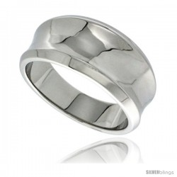 Surgical Steel Concaved Cigar Band Ring Beveled Edges 7/16 in long