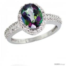 10k White Gold Diamond Mystic Topaz Ring Oval Stone 9x7 mm 1.76 ct 1/2 in wide