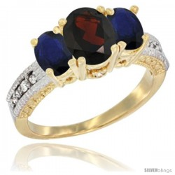 14k Yellow Gold Ladies Oval Natural Garnet 3-Stone Ring with Blue Sapphire Sides Diamond Accent