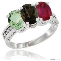 14K White Gold Natural Green Amethyst, Smoky Topaz & Ruby Ring 3-Stone 7x5 mm Oval Diamond Accent