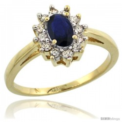 14k Yellow Gold Blue Sapphire Diamond Halo Ring Oval Shape 1.2 Carat 6X4 mm, 1/2 in wide