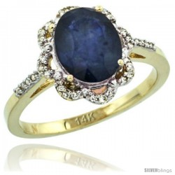 14k Yellow Gold Diamond Halo Blue Sapphire Ring 1.65 Carat Oval Shape 9X7 mm, 7/16 in (11mm) wide