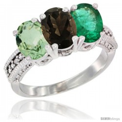 14K White Gold Natural Green Amethyst, Smoky Topaz & Emerald Ring 3-Stone 7x5 mm Oval Diamond Accent