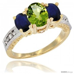 14k Yellow Gold Ladies Oval Natural Peridot 3-Stone Ring with Blue Sapphire Sides Diamond Accent