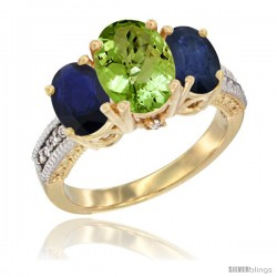 14K Yellow Gold Ladies 3-Stone Oval Natural Peridot Ring with Blue Sapphire Sides Diamond Accent