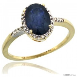 14k Yellow Gold Diamond Blue Sapphire Ring 1.17 ct Oval Stone 8x6 mm, 3/8 in wide