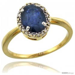 14k Yellow Gold Diamond Halo Blue Sapphire Ring 1.2 ct Oval Stone 8x6 mm, 1/2 in wide