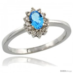 10k White Gold Diamond Halo Swiss Blue Topaz Ring 0.25 ct Oval Stone 5x3 mm, 5/16 in wide