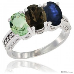 14K White Gold Natural Green Amethyst, Smoky Topaz & Blue Sapphire Ring 3-Stone 7x5 mm Oval Diamond Accent