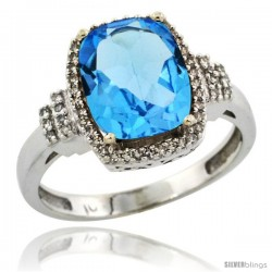 10k White Gold Diamond Halo Swiss Blue Topaz Ring 2.4 ct Cushion Cut 9x7 mm, 1/2 in wide