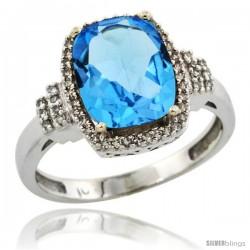 10k White Gold Diamond Halo Swiss Blue Topaz Ring 2.4 ct Cushion Cut 9x7 mm, 1/2 in wide