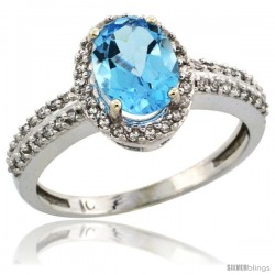 10k White Gold Diamond Halo Swiss Blue Topaz Ring 1.2 ct Oval Stone 8x6 mm, 3/8 in wide