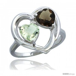 14k White Gold 2-Stone Heart Ring 6mm Natural Green Amethyst & Smoky Topaz Diamond Accent, Diamond Accent