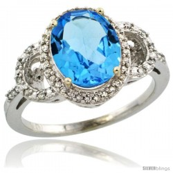 10k White Gold Diamond Halo Swiss Blue Topaz Ring 2.4 ct Oval Stone 10x8 mm, 1/2 in wide