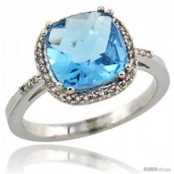 10k White Gold Diamond Swiss Blue Topaz Ring 3.05 ct Cushion Cut 9x9 mm, 1/2 in wide
