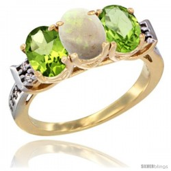 10K Yellow Gold Natural Opal & Peridot Sides Ring 3-Stone Oval 7x5 mm Diamond Accent